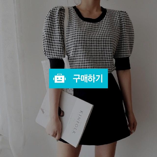 체크 퍼프 라운드 티셔츠 / 워니룸 / 디비디비 / 구매하기 / 특가할인