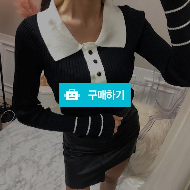 슬림핏 배색 카라 단추 니트 / 더희룸님의 스토어 / 디비디비 / 구매하기 / 특가할인