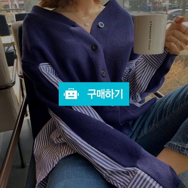 루즈핏 퍼프 스트라이프 니트가디건 / 로제던 / 디비디비 / 구매하기 / 특가할인