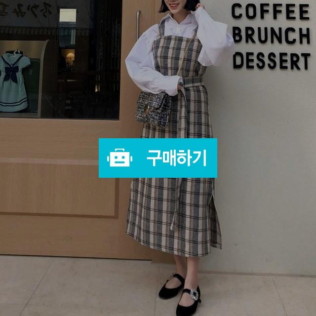 체크 모직 벨트 멜빵 원피스 / 마니에르님의 스토어 / 디비디비 / 구매하기 / 특가할인