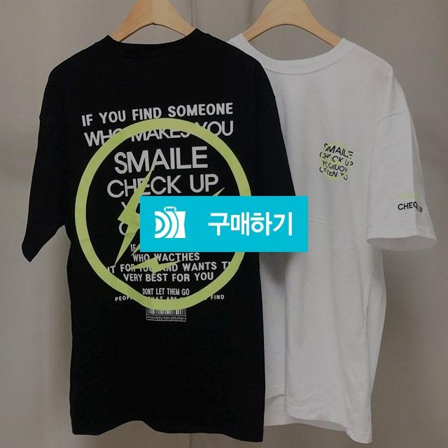 남녀공용 형광 번개 라운드 오버핏 박스 반팔 티셔츠 / 나야또리 / 디비디비 / 구매하기 / 특가할인