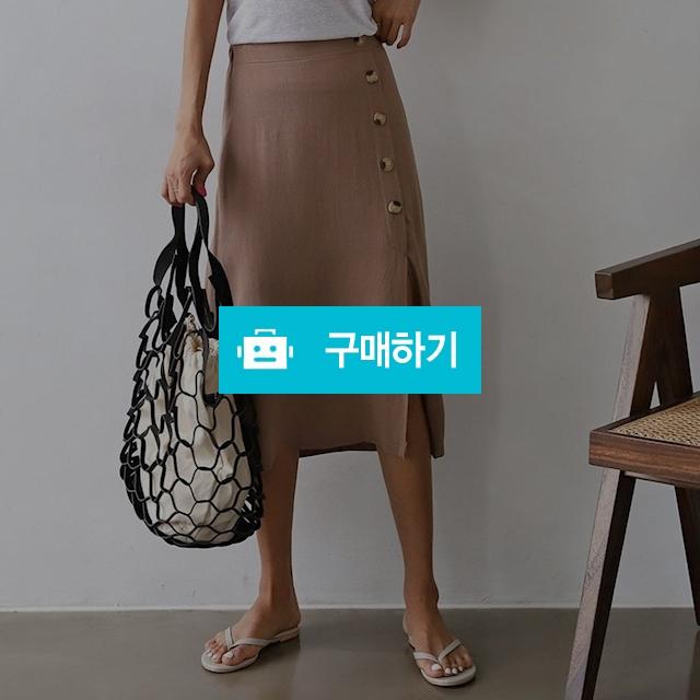 여성 단추 앞 트임 밴딩 와인 린넨 스커트 / 옷자락 / 디비디비 / 구매하기 / 특가할인