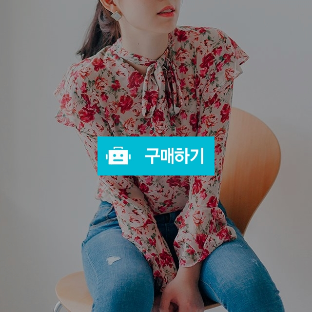 리본 타이 플라워 블라우스  / 김진주964님의 스토어 / 디비디비 / 구매하기 / 특가할인