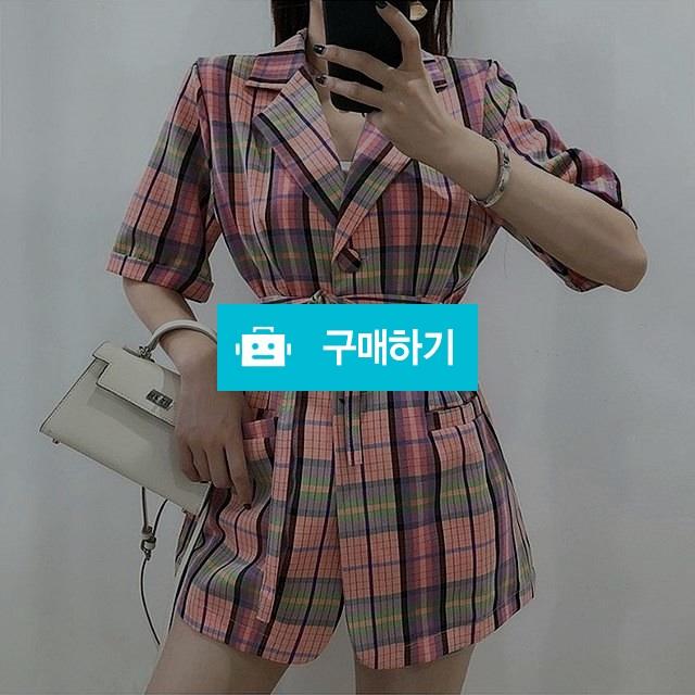 루즈핏 체크 벨트 핑크 반팔 자켓 / 모드페이지 / 디비디비 / 구매하기 / 특가할인