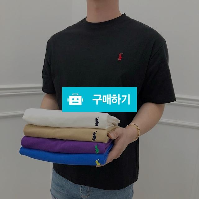 남녀공용 여름 데일리 폴로 자수 심플 루즈핏 라운드넥 반팔 티셔츠 5color / 유픽 / 디비디비 / 구매하기 / 특가할인
