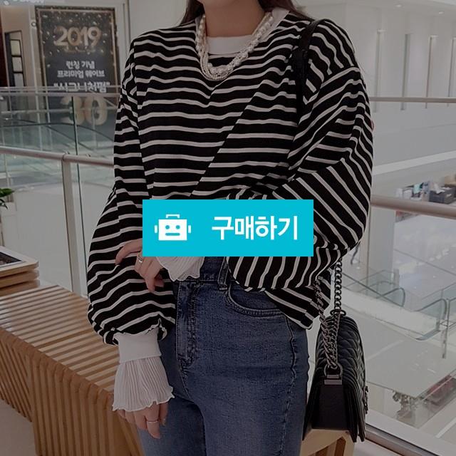 스트라이프 레이스 소매 맨투맨 / 마이곤 / 디비디비 / 구매하기 / 특가할인