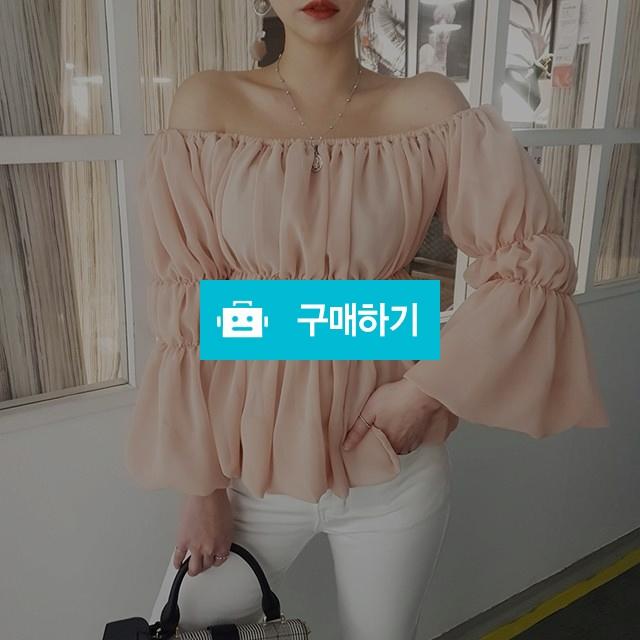 오프숄더 셔링 쉬폰 블라우스 / 마이곤 / 디비디비 / 구매하기 / 특가할인