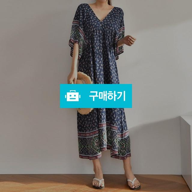 여성 바캉스 페이즐리 에스닉 브이 롱 원피스 / 옷자락 / 디비디비 / 구매하기 / 특가할인