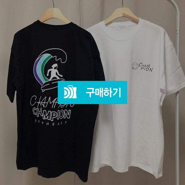 남녀공용)보드 챔피언 프린팅 오버핏 반팔 티셔츠 / 나야또리 / 디비디비 / 구매하기 / 특가할인